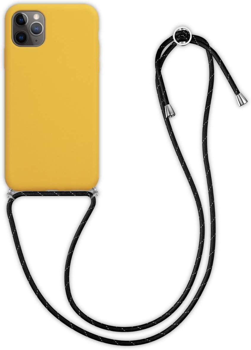 kwmobile Funda con Cuerda para Apple iPhone 11 Pro MAX - Carcasa Protectora de Silicona con Colgante - en Amarillo Miel