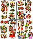 alles-meine.de GmbH 2 versch. Bögen: statisch haftende Fensterbilder -  nostalgische Weihnachten mit Glitzer Effekt  - Weihnachtsmann / Christbaumkugeln / Nußknacker - wiederve.. -