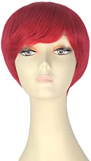 Decent Women Girl Short Straight Bob Hair Party Daily Cosplay Lolita Wig Halloween (Red)