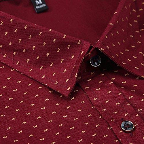 MUSE FATH Men's Printed Dress Shirt-100% Cotton Casual Long Sleeve Shirt- Button Down Point Collar Shirt-Wine Red-2XL