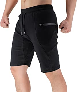 BROKIG Men's Sidelock Gym Workout Sport Shorts with Zipper Pockets