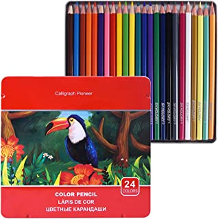 Colored Pencils Set, Professional Soft, Thick Core Pencils for a Smooth Color Vibrant Artist Pencils for Beginners & Pro Artists with Metal Box (Set of 24)
