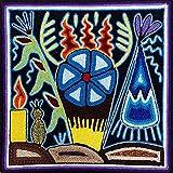 La Casa di Frida El Peyote Sagrado Cuadro Huichol Arte Shamanica Méxica 20 x 20 cm