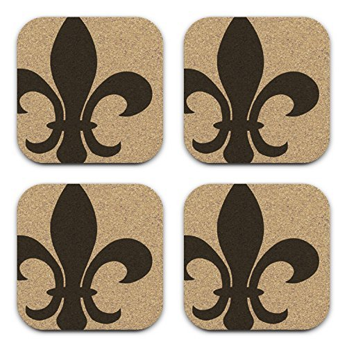 Classic Fleur De Lis Design Coaster Gift Set of 4