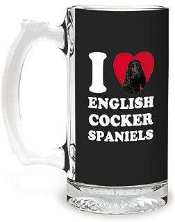 Tree-Free Greetings GS09046 I Heart English Cocker Spaniels Artful Alehouse Glass Stein, 16-Ounce, Black
