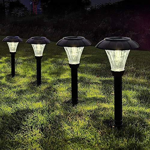 LAMTREE Luces solares para jardín al aire libre (cristal) LED solar camino luz tierra para césped, paisaje, patio, camino, pasarela, entrada lateral (blanco cálido, 6 paquetes)
