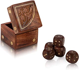 Handcrafted Wooden Decorative Dice Box Set of 5 Dice Portable Dice Cup Five Dice Game Set Storage Case Decorative Brass In...