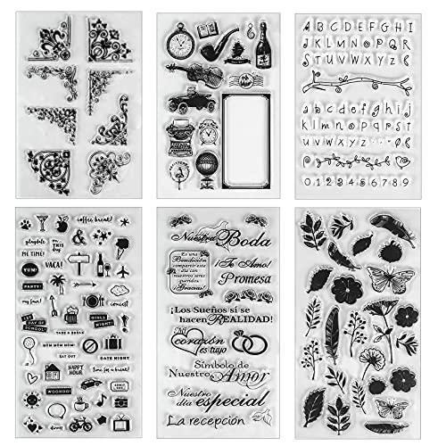 6 Pcs Sellos de Silicona Transparente, Vintage Flores Mariposa Sello de Goma, para �lbum de Fotos DIY Scrapbooking la decoración de Tarjetas