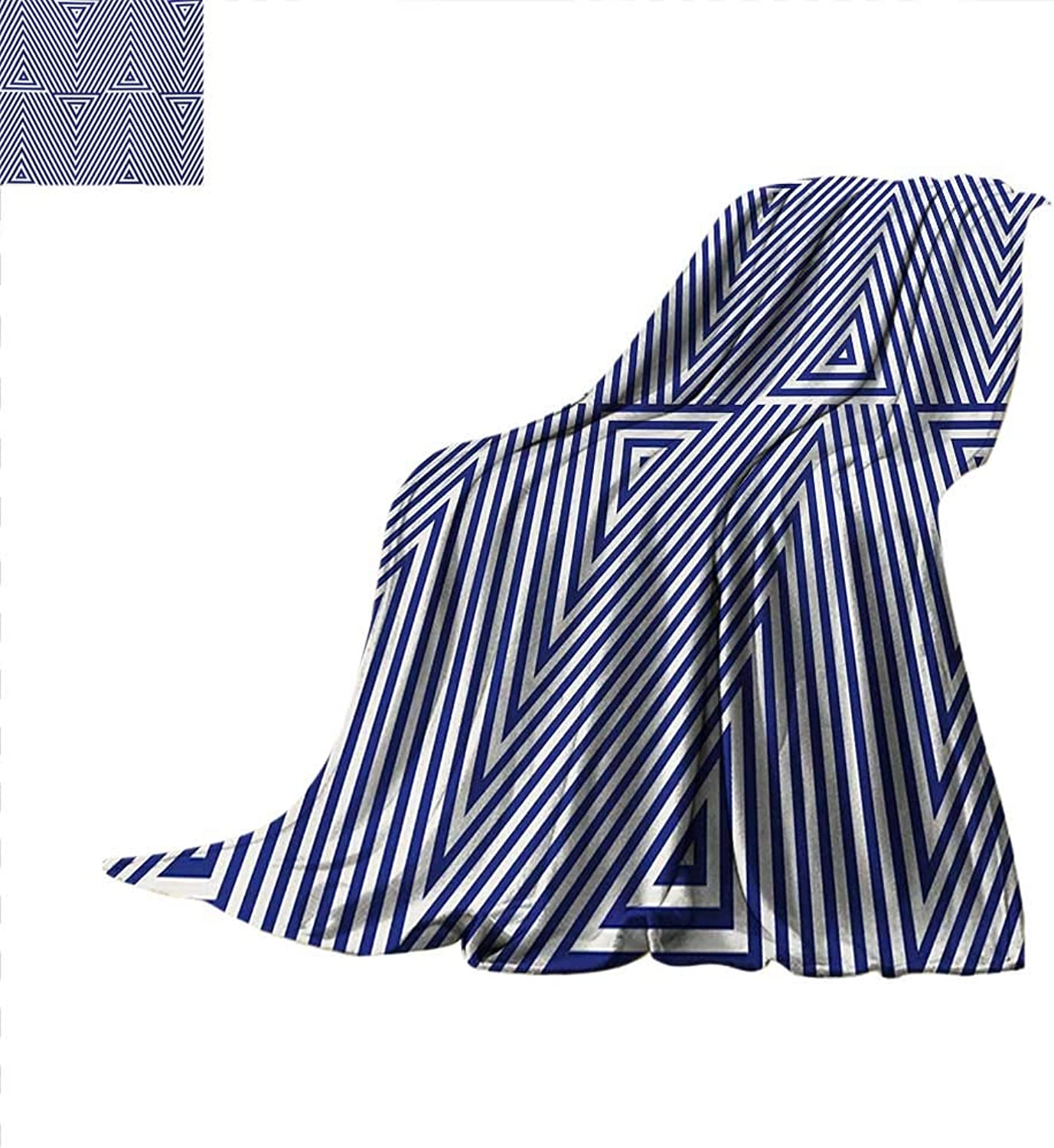 Navy bluee Weave Pattern Blanket Cool Pattern with Geometrical Triangle Shapes in Striped Designed Image Summer Quilt Comforter 60 x50  Dark bluee and White