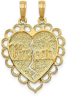 Beautiful Yellow gold 14K 14k Reversible Mizpah 2 Piece Break Apart Charm