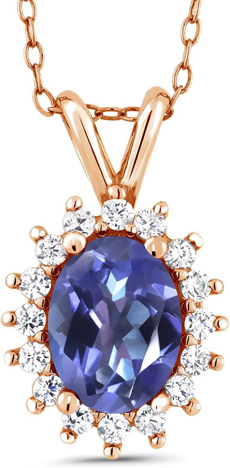 Purple bluee Mystic Topaz 18K pink gold Plated Silver Pendant 1.54 Cttw With 18 Inch Chain