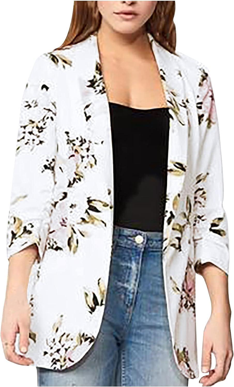 Fashion Jacket Coat Women's Lapel Cardigan Printed Long-Sleeved Casual Top Suit Coat
