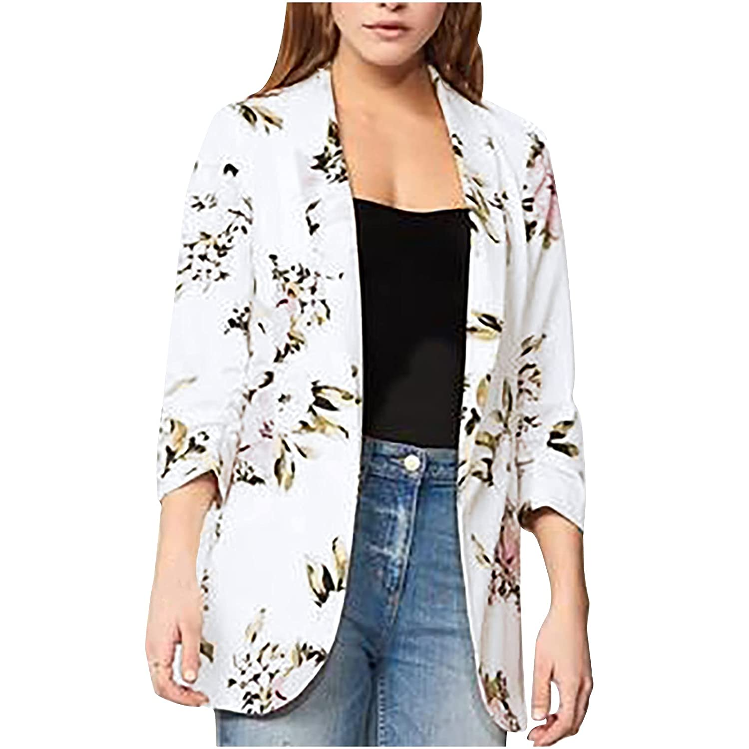 Spring and OFFicial store Autumn Women's Fashion Cardigan Floral Print Lapel Lo free