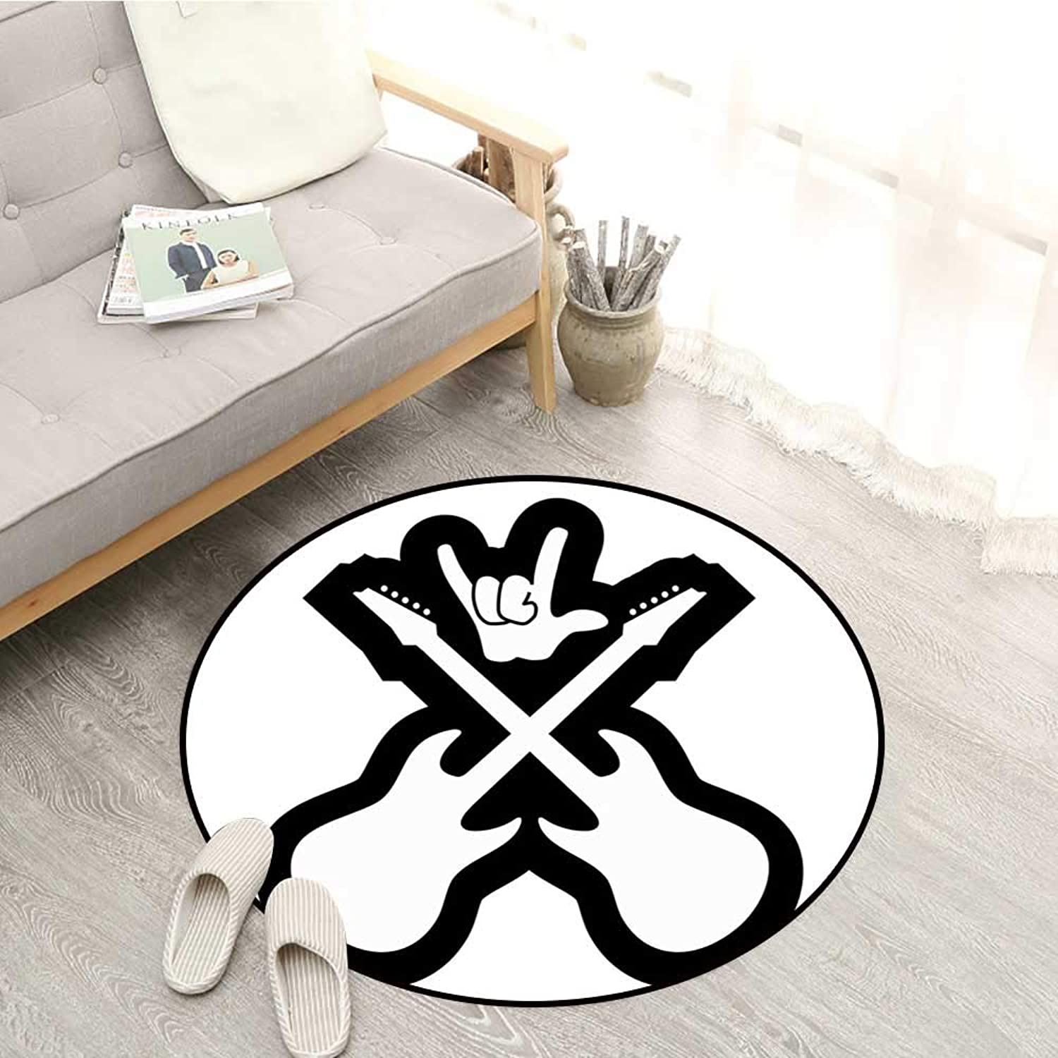 Rock Music Living Room Round Rugs Doodle Drawing Style Guitars Rock Sign Abstract Monochrome Instrument Design Sofa Coffee Table Mat 4'3  Black White