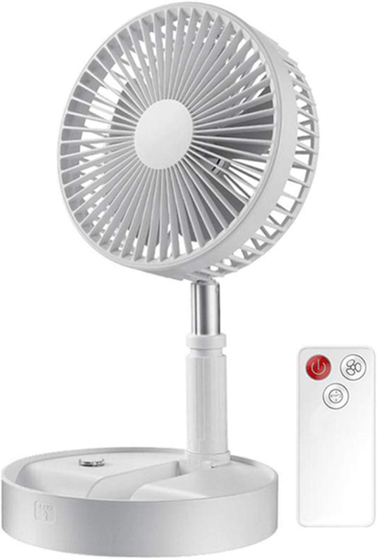 Ventilador pie eléctrico plegable telescópico, Ventilador escritorio USB portátil, con batería recargable 3600 mAh, pedestal ajustable Temporizador control remoto/silencioso 4 velocidades (Blanco)
