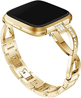 Watchbands X-Shaped Diamond-Studded Solid Stainless Steel Wrist Strap Watch Band for Fitbit Versa Lite(Black) Watch Accessories (Color : Gold)