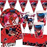 Lot de 96 pièces «Miraculous Ladybug» - Pour l'anniversaire d'un enfant avec 8 enfants - Assiettes, gobelets, serviettes, nappes, sachets, banderole, serpentins, ballons de baudruche et plus encore