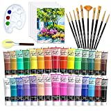 48 Pack Acrylic Paint Set, Shuttle Art 30 Colors Acrylic Paint (36ml) with 10 Brushes 5 Canvas 1...