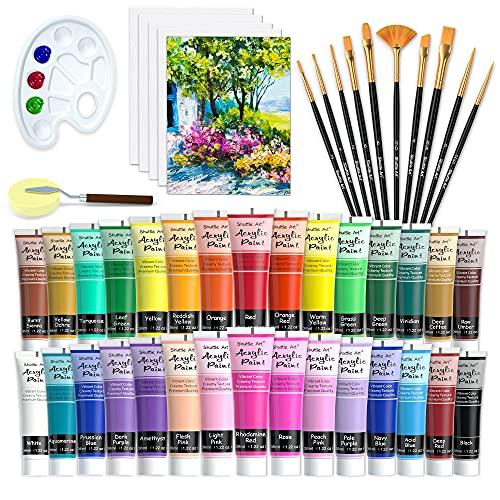 48 teiliges Acrylfarben Set, Shuttle Art 30 Acrylfarben in Tuben (je 36ml) mit 10 Pinseln, 5 Leinwänden, 1 Spachtel, 1 Palette, 1 Schwamm, Künstlerqualität, für Glas,...