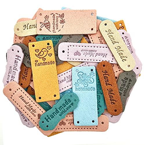 40 Stück PU Handmade Label zum Annähen Personalisiert, Etiketten Handmade with Love mit Löchern Geprägte Tag für Jeans Taschen Schuhe Hut Handwerk Basteln, Stricken und Häkeln (10 Arten)