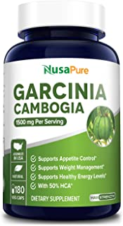 Pure Garcinia Cambogia 180 Veggie Caps 1500mg (Vegetarian, Natural, Non-GMO & Gluten Free) - Weight Loss Supplement - Natu...
