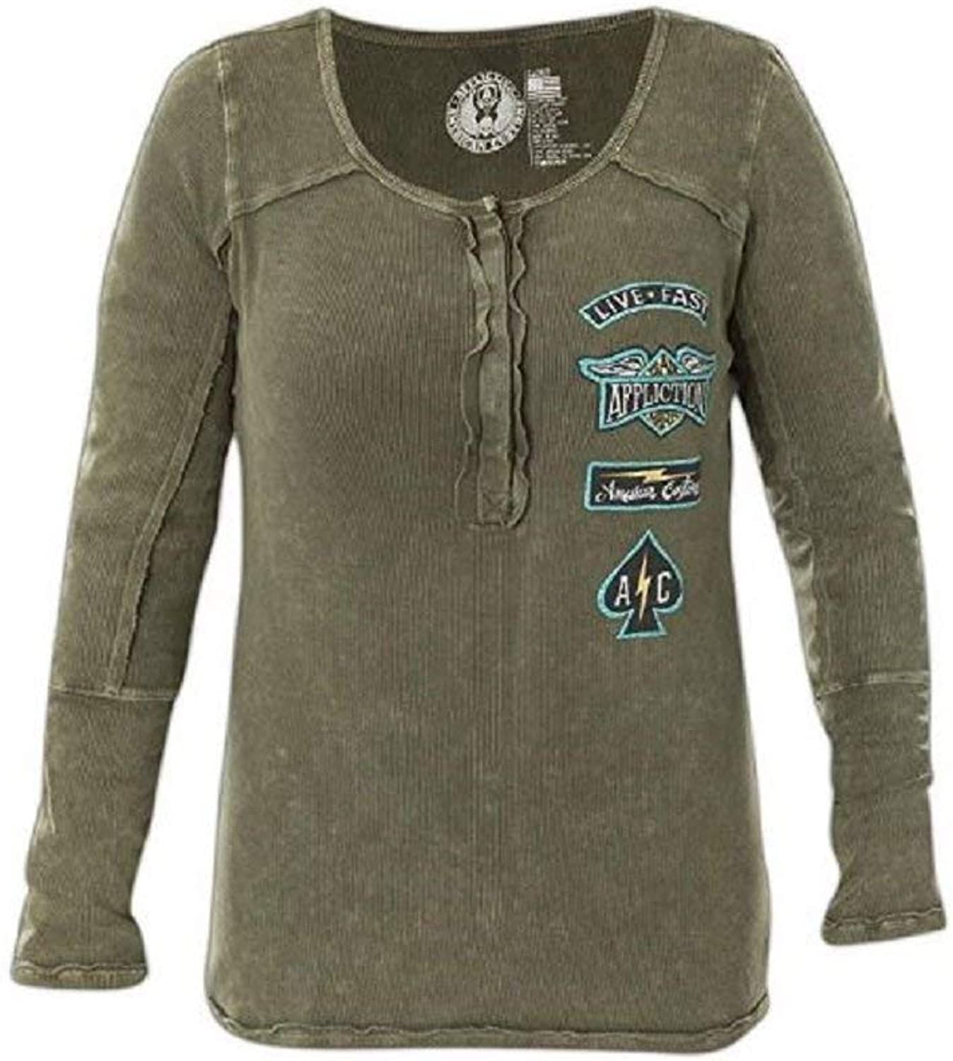 Affliction AC United Long Sleeve Fashion Graphic Henley Thermal For Women