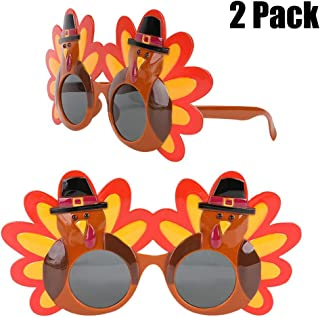 Thanksgiving Turkey Sunglasses Props 2 Pack Cartoon Eyeglasses Autumn Costume Glasses for Thanksgiving Day Party Favor Accessories Creative Decoration