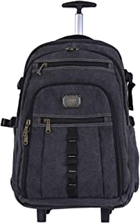 Canvas Trolley Backpack, Female Male Travel Bag, Computer Trolley Bag (Color : Black, Size : 18 inches)