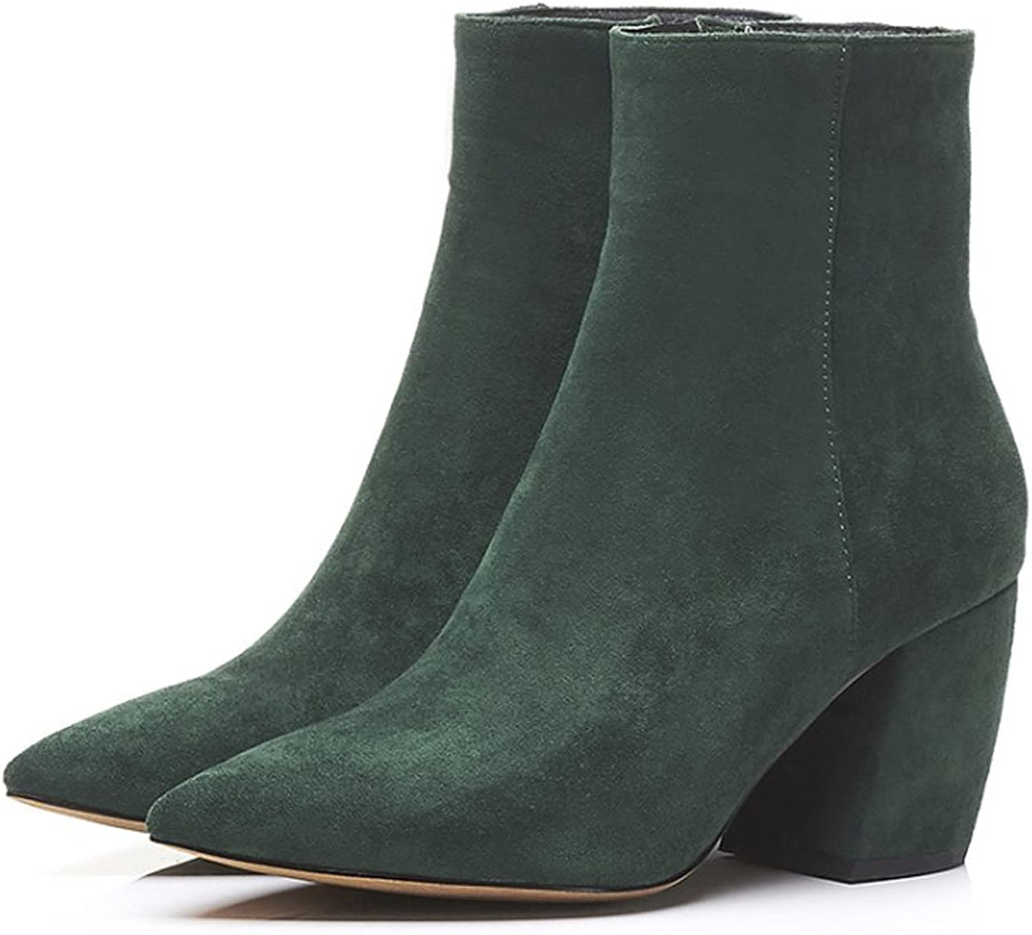 QZUnique Women Sexy Pointy Toe Mid Chunky Square Heel Martin Boots