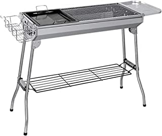 Portable Folding Charcoal Barbecue Grill - Stainless Steel Thickened BBQ Grill for Home Garden Backyard Tailgate Party Cam...