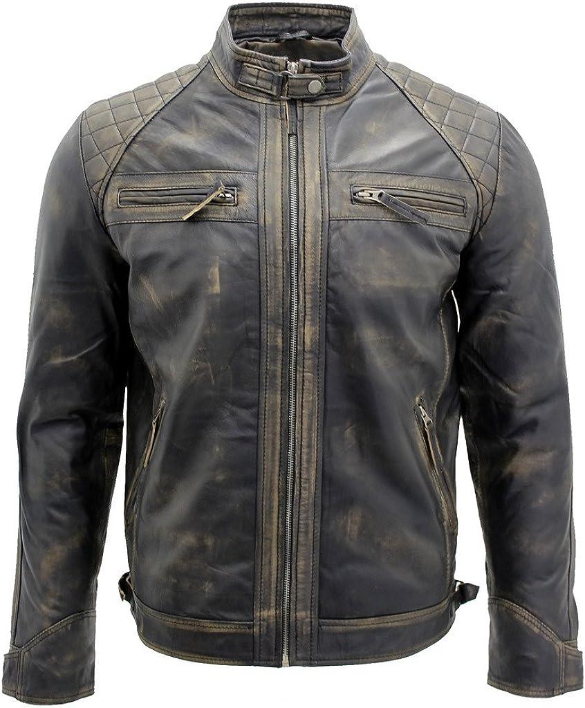 Men's Vintage Black Leather Racing Biker Jacket