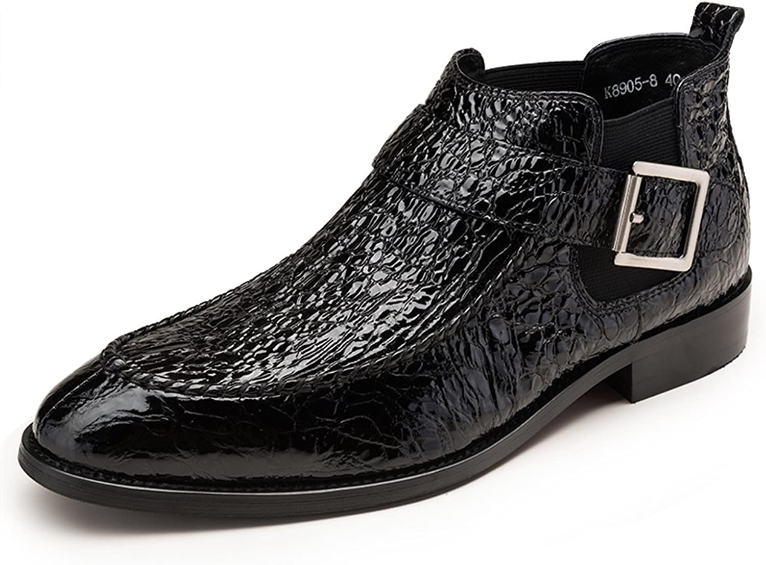 FARYM Men's Alligator Buckle Trim Chelsea Boots in Leather
