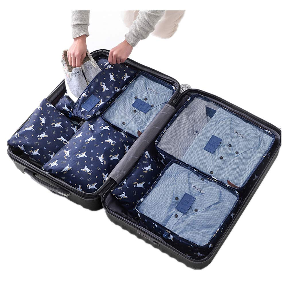 4 Set Packing Cubes Travel Luggage Packing Organizers Seamless Pattern With Unicorns