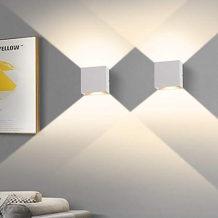OOWOLF 2 pièces Applique Murale Intérieur, Applique Murale Chambre 6W 3000K, LED Applique Murale Carrée, Applique Blanche Utilisée Dans le Salon,la salle de Bain, la Cuisine, la salle à Manger