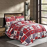 Oliven Rustic Buffalo Bear Plaid Bedding Quilts King Size Lodge Plaid Bear Moose Elk Pine Tree Paw Printed Cabin Bedspread Burgundy Black Camp Bed Cover All Season Coverlet Set with King Pillow Shams
