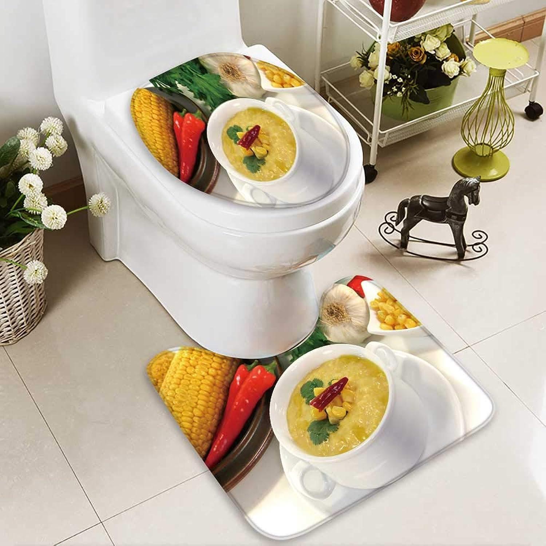 Analisahome Cushion Non-Slip Toilet Mat Corn Soup_150949542 Soft Non-Slip Water