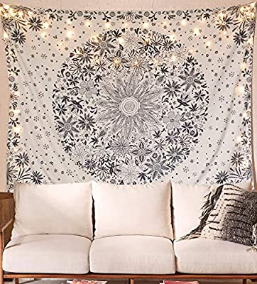 Neasow Bohemian Tapestry Wall Hanging, Beige White Floral Tapestry with Dotted Daisy Medallion Print Bedroom Boho Hippie Home Decor, 60×80 inches