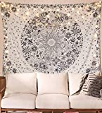 Best Wall Decor For Bedrooms - Neasow Bohemian Tapestry Wall Hanging, Beige White Floral Review