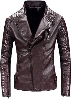 wuliLINL Men Classic Faux Leather Moto Jacket Coat Motorcycle Bomber Punk Slim Fit Embossed Coat Winter Outwear