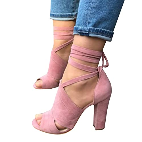ac1aab2cdc8 Runcati Womens Ankle Wrap Chunky Block Heels Peep Toe Pumps Lace up Strappy  Suede High Heeled