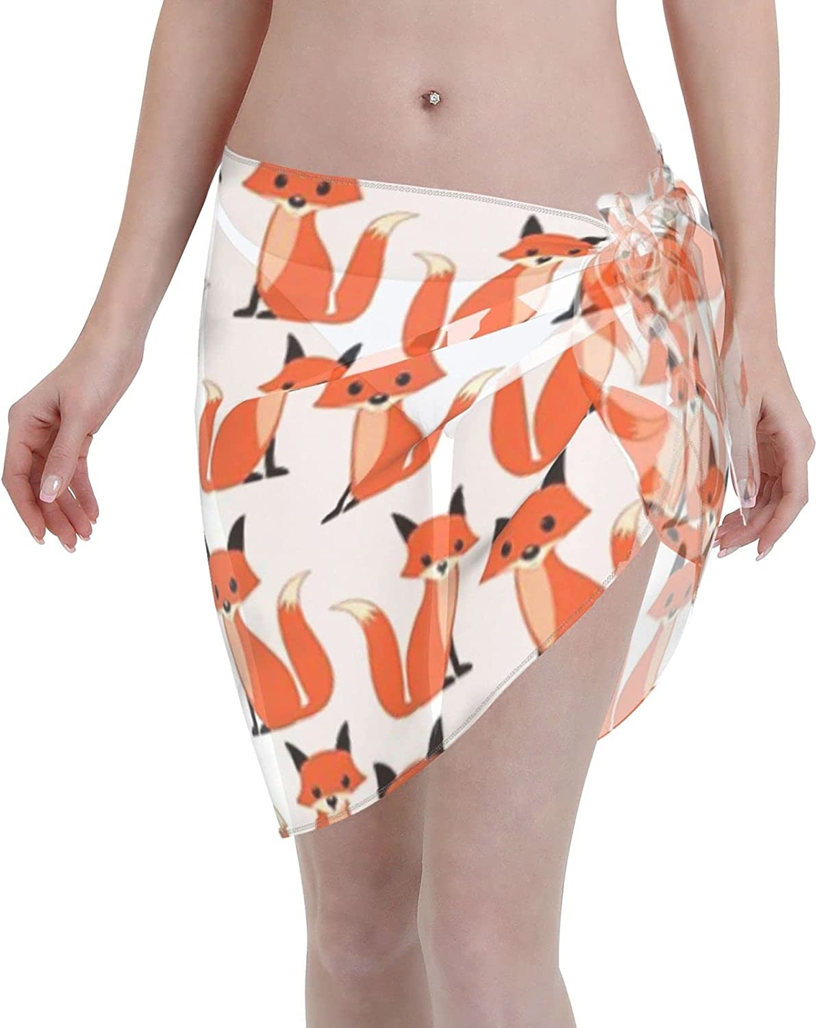 Hipster Fox Cute Woodland Forest Animal Pattern Print of Foxes Women Chiffon Beach Cover ups Beach Swimsuit Wrap Skirt wrap Bathing Suits for Women