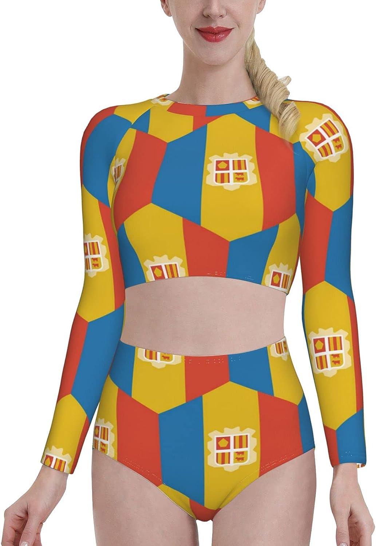 Andorra Flag Womens Two Piece Swimsuit Long Sleeve Rash Guard Swimwear