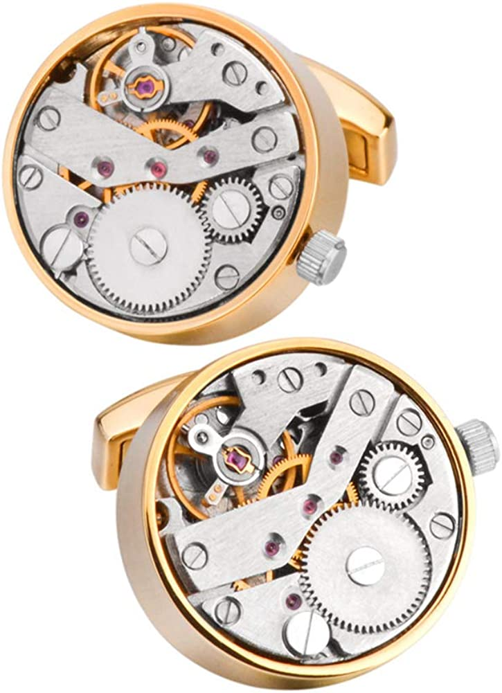 Stainless Steel Kinetic Working Watch Max 90% OFF Cufflin Movement Steampunk New Orleans Mall