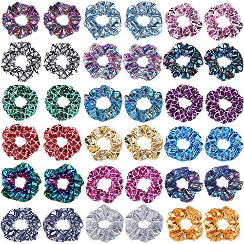 Shiny Mermaid Hair Scrunchies Hanmei Metallic Mermaid Fish Scale Hair Ties Set for Toddlers Girls 18 Pieces