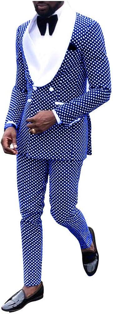 Classic Mens Polka Dot Tailored Slim Fit Tuxedo Elegant Shawl Lapel Groom Suit