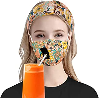 Mouth Face Protective Gear with A Straw Hole, Floral Adjustable Washable Reusable Covering & Headband, Can Drink Freely