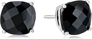 Amazon Collection Sterling Silver Cushion-Cut Checkerboard Created or Genuine Stud Earrings