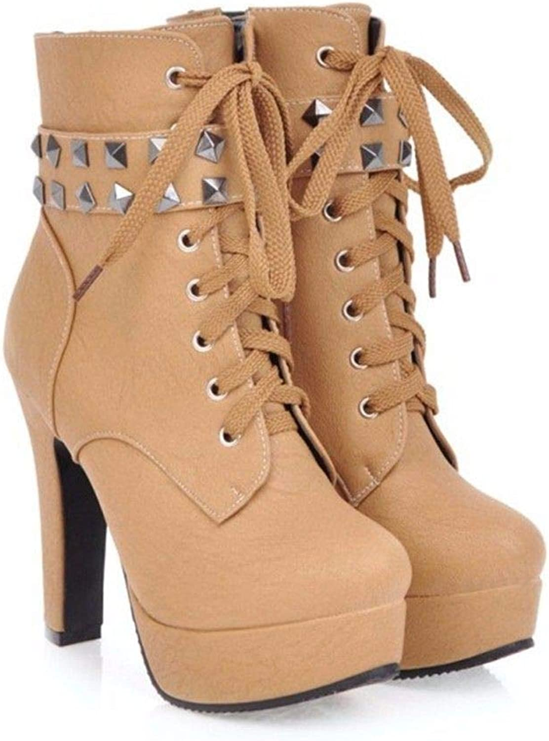 Europe Boots Small Round Head Heels with coarse Rivet Front tie Code Boots