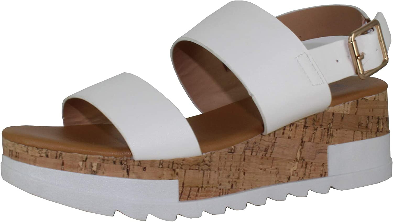 Revol Women's Open Toe Ankle Strap Casual Flatform Platform Sandals