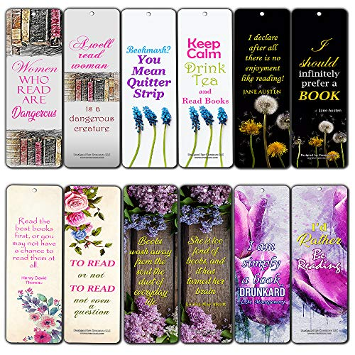 Bookmarks for Books for Women (12-Pack) – Inspiring Floral Reading Word Sayings Quotes for Ladies, Wife, Girls – Six Bulk Assorted Bookmarks Designs
